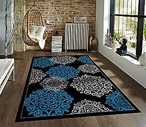 turquoise gray black 5 39 2x7 39 2 area rug modern carpet large new kitchen dining. Black Bedroom Furniture Sets. Home Design Ideas