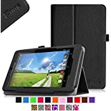 Fintie Folio Case for Acer Iconia One 7 B1-730HD Tablet Premium Vegan Leather Slim Fit Stand Cover With Stylus Holder - Black
