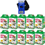 Fujifilm Instax Mini Twin Pack Instant Film - 10 pack (200 sheets) for Fujifilm Instax Mini 7s, Mini 8, Mini 25, Mini 50S, Mini 90 & SP-1 Smartphone Printer + HeroFiber® Ultra Gentle Cleaning Cloth