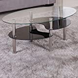 Couchtisch-98x58cm-klar-Ablage-schwarz-Sicherheitsglas-Beistelltisch-Wohnzimmertisch-Glas-Tisch-Sofatisch-Glas-Loungetisch-Ziertisch-Chrom-Gestell-verchromt-Modern-Klarglas-Schwarzglas