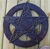 Pentagram wall hanging, Hand carved wooden plaque 35cm