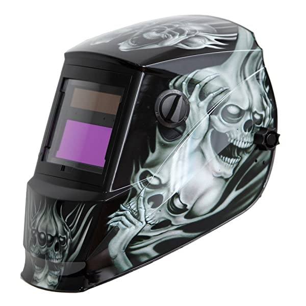 Antra AH6-260-6218 Solar Power Auto Darkening Welding Helmet with AntFi X60-2 Wide Shade Range 4/5-9/9-13 with Grinding Feature Extra Lens Covers Good for Arc Tig Mig Plasma CSA/ANSI (Color: Grey Ghost, Tamaño: Viewing Size 3.86X1.78)