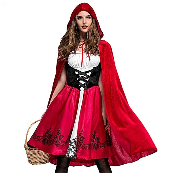 Womens's Halloween Vintage Dress Costume Cosplay Sleeveless Fancy Swing Midi Dresses Red Riding Hood Cape Halloween Theme Party Masquerade Cosplay Dress up (Color: Red, Tamaño: M)