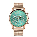 Womens Luxury Wristwatch, Mitiy Roman Numerals Stainless Steel Mesh Band Analog Quartz Watch- Gift for Women (Color: Green)