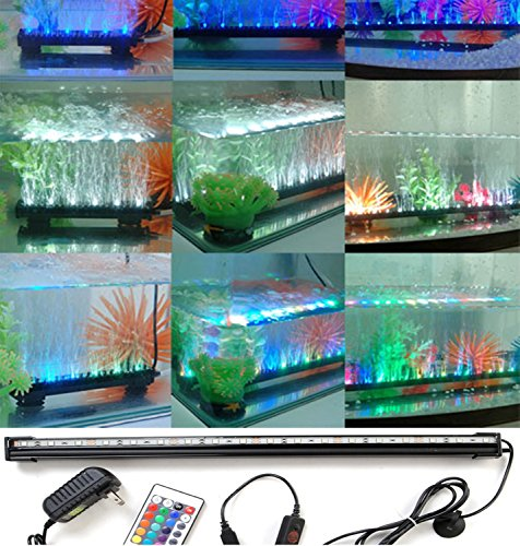Mictuning® Underwater Aquarium Led Light Bar Flood Light Strip & Airstone For Fish Tank (Rgb, 12'')