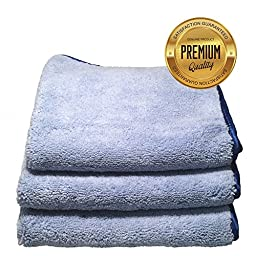 Auto Detailing Towels (3 Pack) Best Multi-Use Microfiber Cleaning Buffing and Dusting Cloth 500GSM 16in x 16in Includes Special Washing Instructions - Blue with Blue Silk Trim