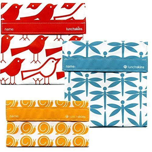 Lunchskins 3pk Reusable Sandwich Bags: Bird Dragonfly Snail - 1