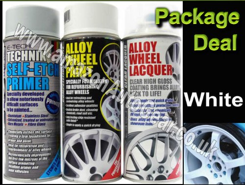 E-Tech Professional WHITE Car Alloy Wheel Spray Paint & High Gloss Clear Lacquer & Self Etch Primer Spray Can Refurbishment Pack