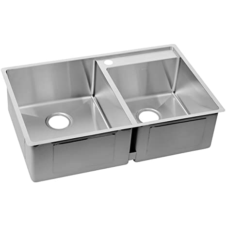 "ELKAY RESIDENTIAL ECTRUD31199RDBG0 Crosstown Stainless Steel Double Bowl Undermount Sink Kit with Water Deck, 32-1/2"" x 20-1/2"" x 9"""