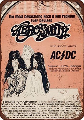metallo poster 1978Aerosmith e AC/DC in Dakota del Sud stile vintage Riproduzione cartello da parete in metallo