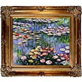 Hand-Painted Reproduction of Claude Monet Water Lilies (pink) Framed Oil Painting, 20 x 24 by Overstock Art LLC