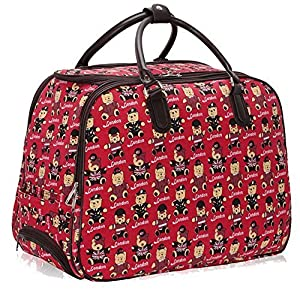 Ladies Travel Holdall Bags Hand Luggage Womens Butterfly Weekend Wheeled Trolley Handbag (Red Bear S2)