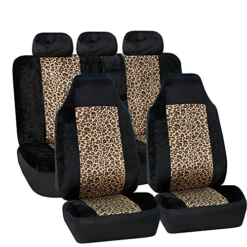 FH Group FB126BROWN115 Brown Classic Leopard Animal Print Split Bench Car Seat Cover (Full Set Airbags Ready) (Animal Print Seat Covers For Suv compare prices)