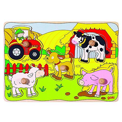 Goki - Puzzle encaje, en la granja, 5 piezas, de madera (Gollnest & Kiesel 57589.0)