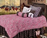 HiEnd Accents Pink Paisley Bedding Set, King