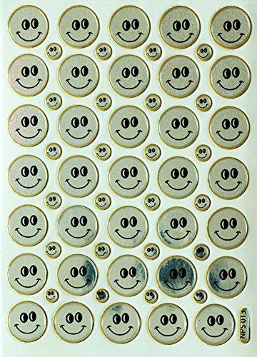 Jazzstick 350 Smiling Glitter Face Silver Decorative Sticker 10 sheets (VST08A07) - 1