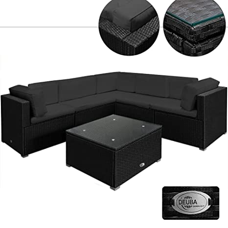 Rattan Garden Furniture Lounge Corner Sofa Set - Black Anthracite Large 20pcs Polyrattan Outdoor Patio Sofa and Table Set
