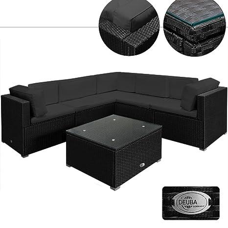 Rattan Garden Furniture Lounge Corner Sofa Set - Black Anthracite Large 20pcs Polyrattan Outdoor Patio Sofa and Table Set