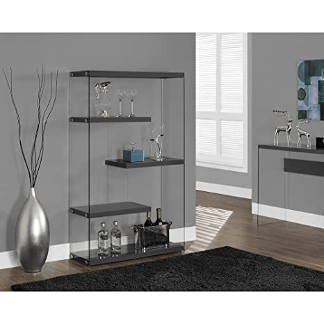 """GLOSSY GREY HOLLOW-CORE / TEMPERED GLASS 60""""H BOOKCASE (SIZE: 36L X 12W X 60H)"""
