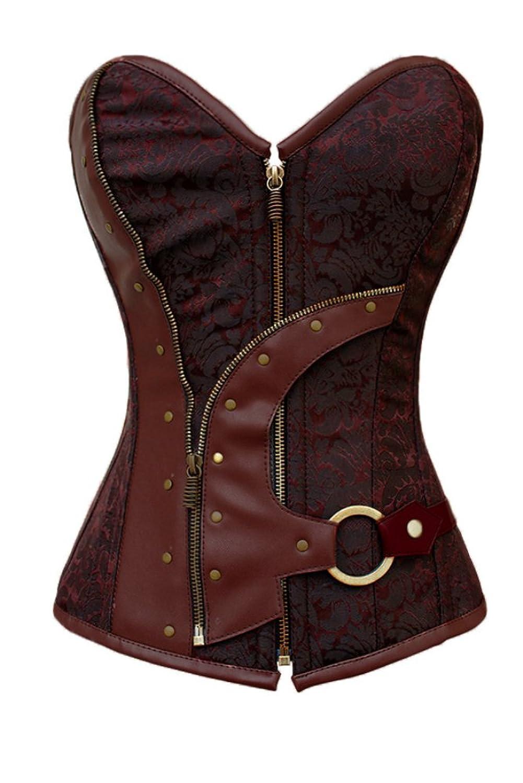 Honeystore Damen's Brokat Steampunk Taile Solid Kompression Korsett Braun online bestellen