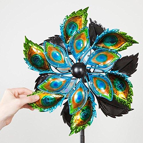 Bits-and-Pieces-Peacock-Feather-Wind-Spinner-14-Inch-Decorative-Kinetic-Wind-Mill-Unique-Outdoor-Windspinner-Lawn-and-Garden-Dcor-Lawn-Ornament