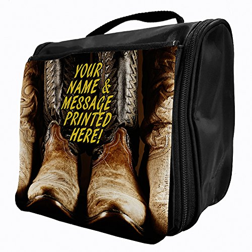 Personalised-Stivali stile Cowboy da appendere, St190 Borsa trousse da viaggio con gancio, Make up Cometic Overnight/Add a nome ****