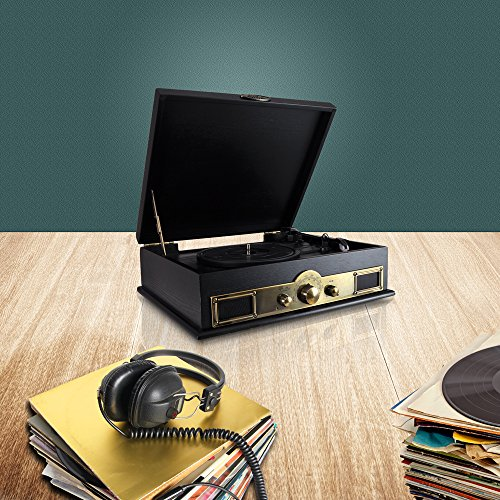 Pyle PTT30BK Bluetooth Vintage Classic Style Turntable Wireless Music Streaming, AM/FM Radio, USB Record Ability, AUX (3.5mm) Input 5