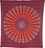 Luna Bazaar Anita Bohemian Mandala Tapestry, Wall Hanging, and Bedspread (Large, 7 X 8 Feet, Red and Orange, 100% Cotton, Fair Trade Certified)