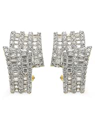 9.80 Grams White Cubic Zirconia Gold Plated Earrings