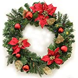 WeRChristmas 60 cm Decorated Pre-Lit Wreath Christmas Decoration Illuminated with 20 Multi Colour LED Lights, Red/ Gold