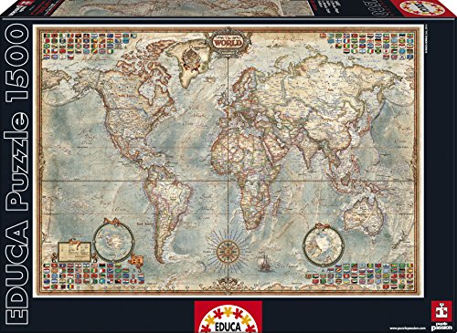 Puzzles Educa - Mapamundi, puzzle de 1500 piezas (Educa Borrás 16005)