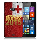 Coque rigide noire pour Nokia Lumia 535 avec impression Motif logo rugby doré et drapeau Tonga...