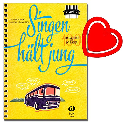 Cantare dura Jung 100canzoncine popolari e SCHLAGER-Stefano Schmidt/Anne Holzschuh-Verlag Edition DUX-EDITRICE n.: D858-ISBN: 9783868492491banconote con & # x2764; note Fermacarte