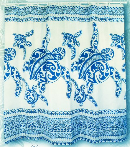 Hawaiian Fabric Shower Curtain Honu Turtle Family