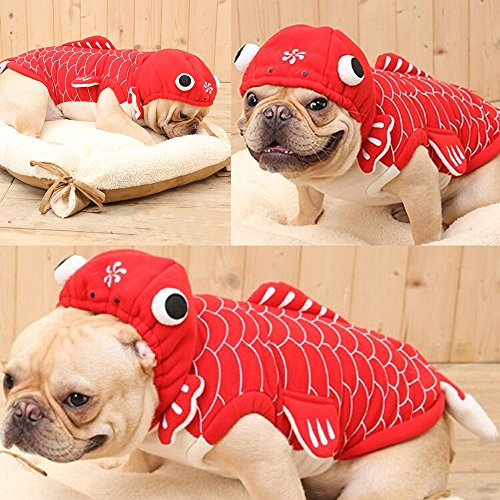 Bolbove Pet Gold Fish Costume with Hood for Small Dogs & Cats Jumpsuit (Small)