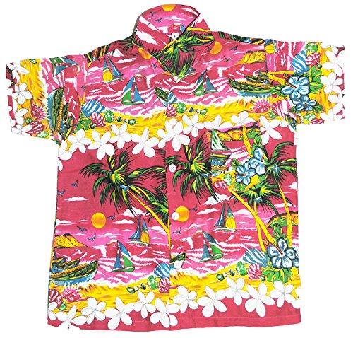 Hawaii-Hemd Jungen Rosa Pink Strand Segeln 5-6 Jahre