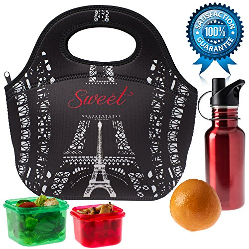 Neoprene Lunch Bag, Insulated Reusable Fashionable Lunch Box Tote | Large, Highest Quality, Holds More and Insulates Better | Paris Design by Sweet Concepts (Wheel Throwing Machine compare prices)
