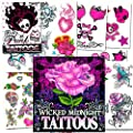 Temporary Tattoos For Girls Party Pack (Over 125 Tattoos -- Hearts, Rock, Punk, Rose Themes)