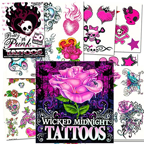 [Temporary Tattoos For Girls Party Pack (Over 125 Tattoos -- Hearts, Rock, Punk, Rose Themes)] (Punk Rocker Costumes For Kids)