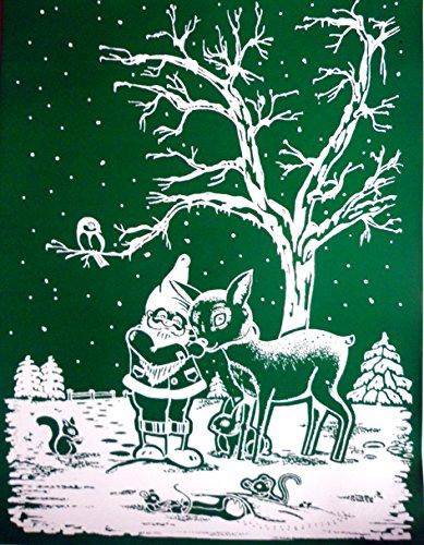 """RETRO KULT XL GROSS 43 x 33 cm cm groß """"Weihnachtsmann SANTA NIKOLAUS MIT REH REHKITZ VOR BAUM WINTER LANDSCHAFT"""" , Fensterdekoration Fensterbild, Fensteraufkleber, MADE IN GERMANY Deko Sticker, Weihnachtsdekoration, Schaufenster In- und Outdoor , Kinderzimmer, Winter Basteln Spielen Kleben, Bunte Klebebilder für das Fenster Sticker, Weihnachten Rentier Tannenbaum Geschenke Weihnachtskalender Nikolaus Engel Christmas Schneemann"""