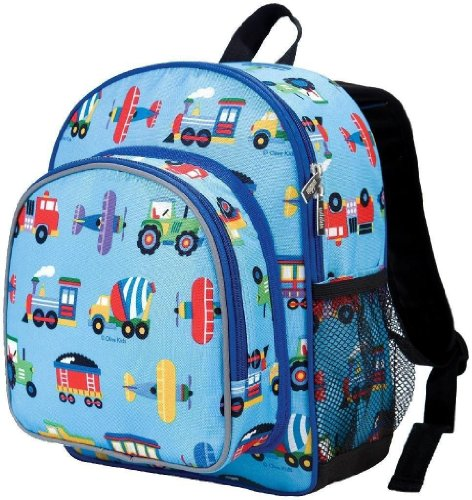 Wildkin Olive Kids Trains, Planes and Trucks Pack 'n Snack Backpack