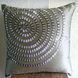 Metallic Rings - Decorative Pillow Covers - Silk Pillow Cover with Silver Pipe Sequins