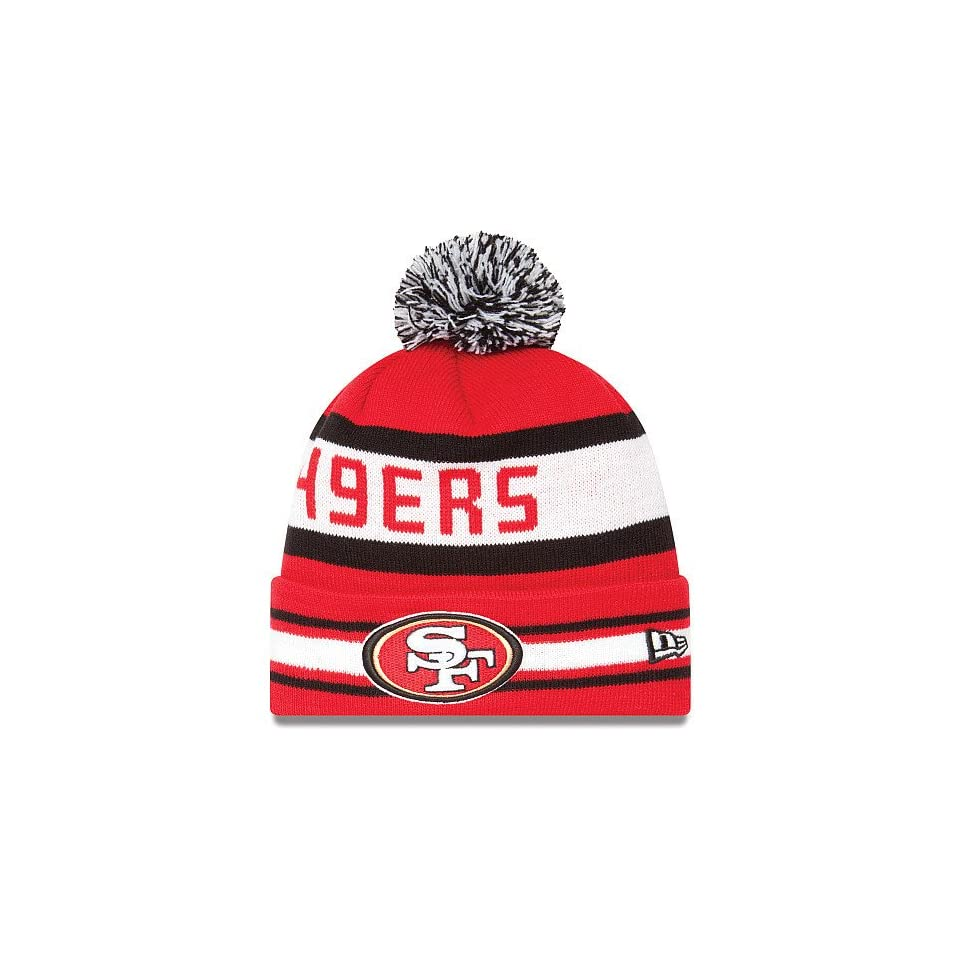 NFL San Francisco 49ers Team Colors the Jake 3 Beanie with Pom  Sports Fan Beanies  Sports & Outdoors