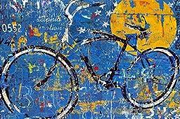 18in x 36in Blue Graffiti Bike by Daryl Thetford - Stretched Canvas w/ BRUSHSTROKES