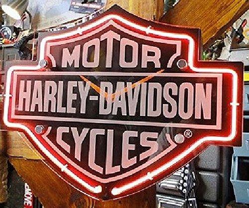 Harley-Davidson Etched Bar & Shield Shaped Neon Clock HDL-16651 Black
