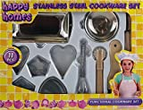 Kids Stainless Steel Kitchen Cooking Kit Real Functional Childs Cookware Set