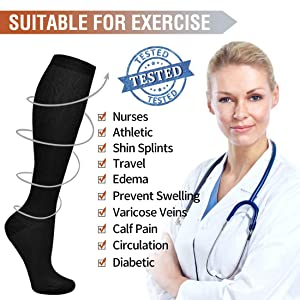7 Pairs Compression Socks For Women and Men -- Best Medical, Nursing, Athletic, Edema, Diabetic,Varicose Veins,Maternity,Travel,Flight Socks ,Shin Splints - Below Knee High (Small/medium, Assort 1) (Color: Assort 1, Tamaño: Small/Medium)