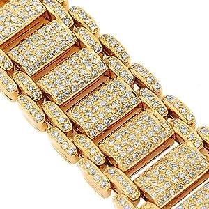 14K Rose Gold Mens Diamond Bracelet 18.57 Ctw