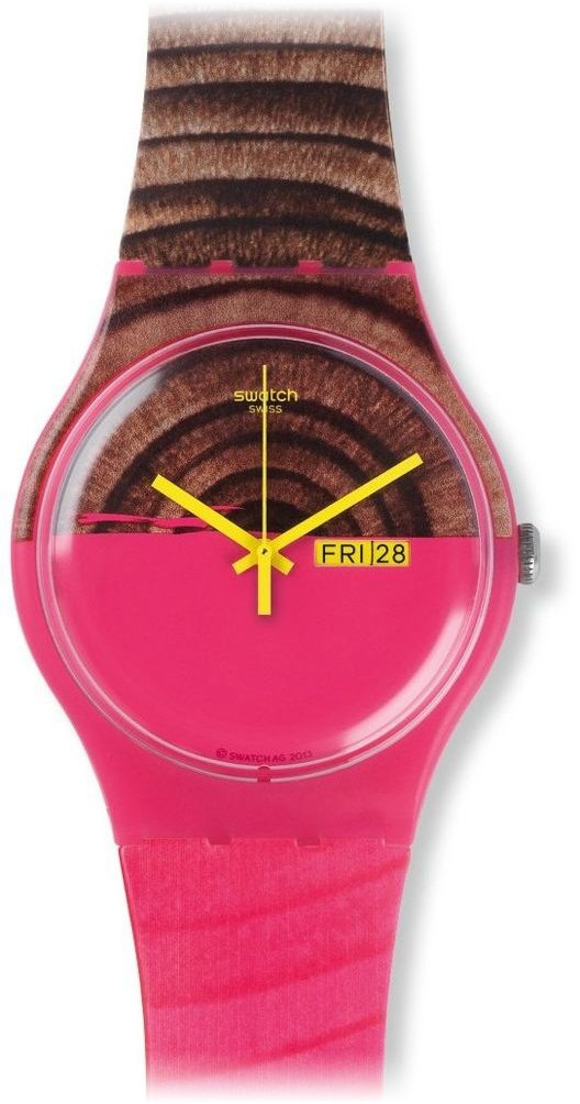 Swatch Women's SUOP703 Pink/Brown Silicone Watch 0