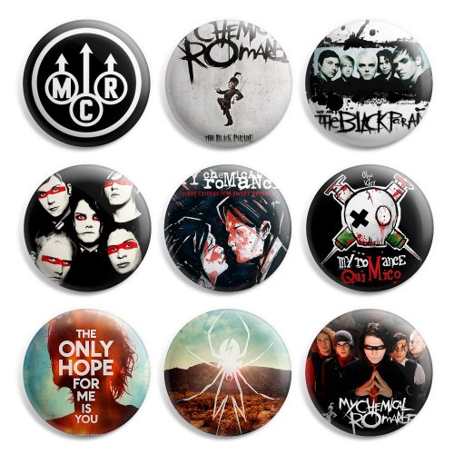 Buy My Chemical Romance MCR Pinback Buttons Pin Badges 1 Inch (25mm) - Pack of 9